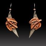 Copper Leaf Earrings by Jonna Faulkner. Photo by Steve Rossman.