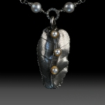 Leaf and Pearl Pendant by Elaine Clelland