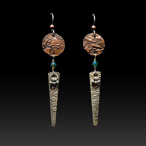 Elongated Silver and Copper Earrings by Jonna Faulkner. Photo by Steve Rossman