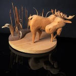 Moose carving and photo by Steve Rossman