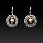 Gold Heart Earrings by Jonna Faulkner. Photography by Steve Rossman