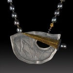 Sword and shield clasp necklace by Jonna Faulkner. Photo by Steve Rossman.