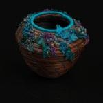 Embellished Pine Needle Basket by Marcie Stone. Photo by Steve Rossman