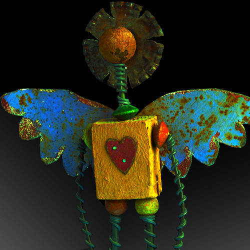 Folk art sculpture - Tin wood and wire angel.  Artist unknown.  Photography by Steve Rossman.