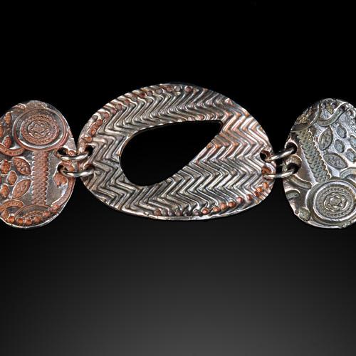 Oval panel bracelet by Ann Rosier.  Jewelry photo by Steve Rossman.