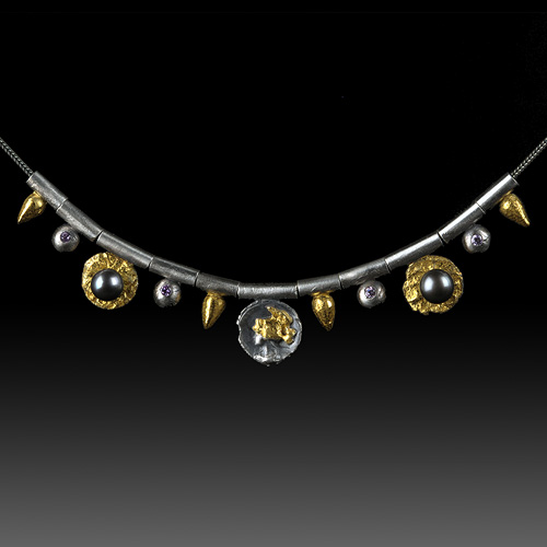 Tiny Tube Roman Era Necklace by Jonna Faulkner. Jewelry photography by Steve Rossman