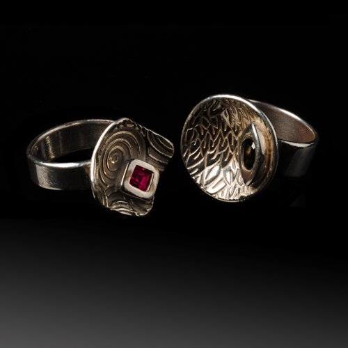 2 Silver Rings by Katie Baum. Jewelry photography by Steve ROssman.