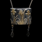 Iris Inro Pendant by Michela Verani. Metal clay photography by Steve Rossman.