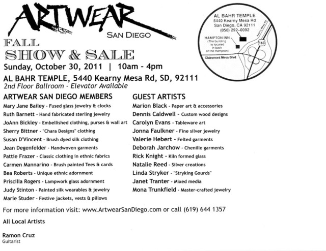 Artwear San Diego postcard mailer
