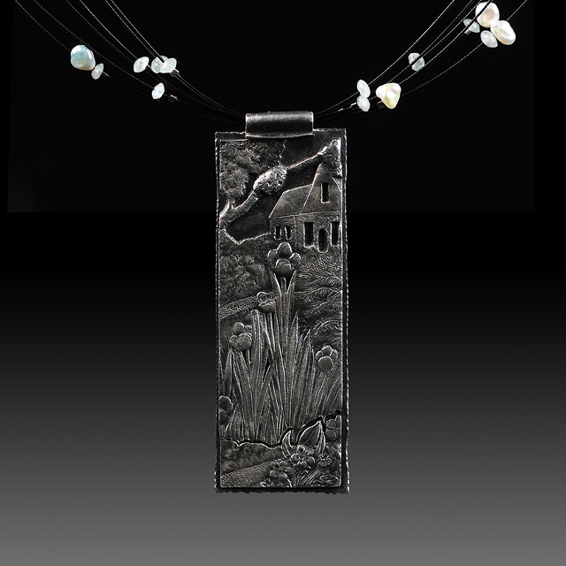 Holly Gage 'Repousse Effects' Pendant.  Jewelry photography by Steve Rossman