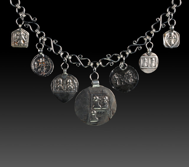 Wire work chain with antique East Indian pendants by Ruth Barnett. Photography by Steve Rossman