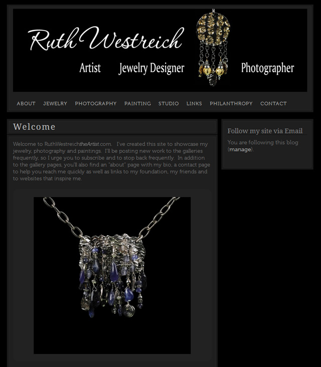Website home page for Ruth Westreich.  Website design and photography by Steve Rossman