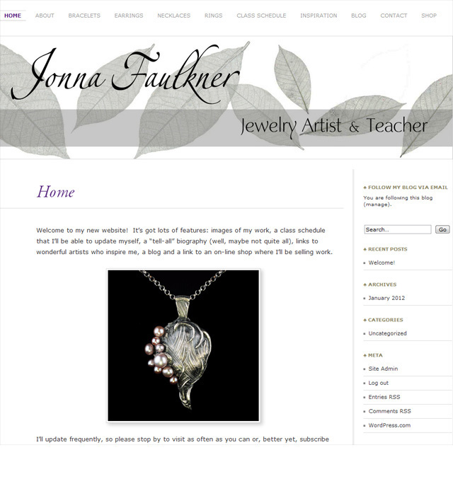 Jonna's new Home page. Site designed and built by Steve Rossman.