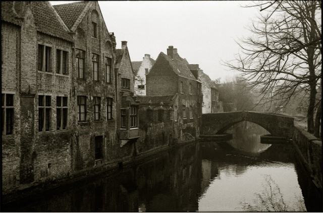 Bruges quiet canal. Travel photography by Steve Rossman