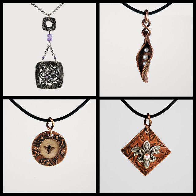 Four new copper and silver pieces by Jonna Faulkner. Jewelry photography by Steve Rossman
