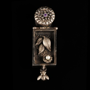 Naturalist Cabinet - Leaf- nd nest by Barbara Whitehill.  Jewelry photography by Steve Rossman