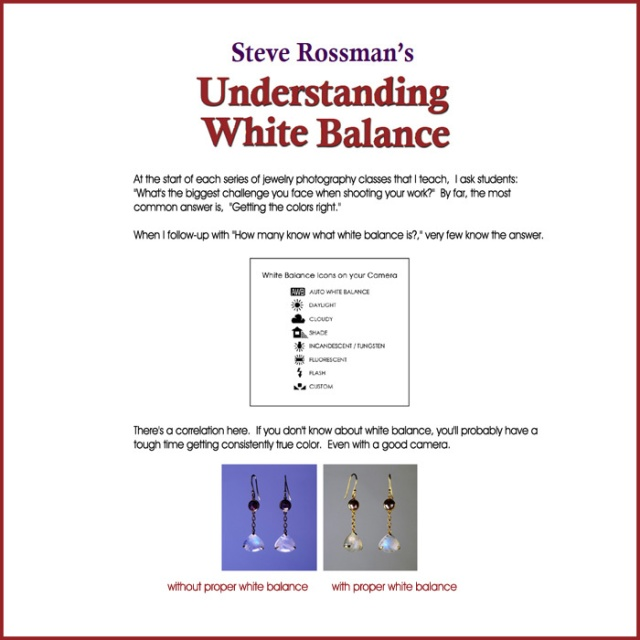 MCT Article cover - UNDERSTANDING WHITE BALANCE by Steve Rossman