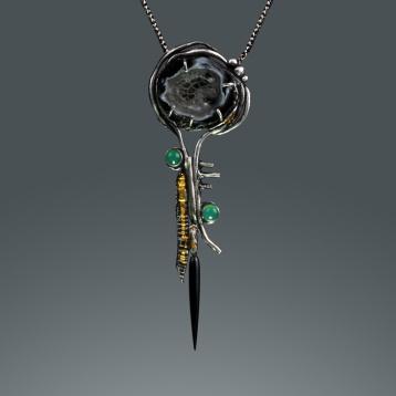 Totem Pendant #2 by Jonna Faulkner.  Jewelry photography by Steve Rossman.