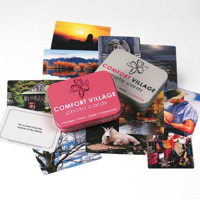 iComfortVillage cards and tins. Card Photography by Linda Ardell Wendfeldt. Studio Photography by Steve Rossman