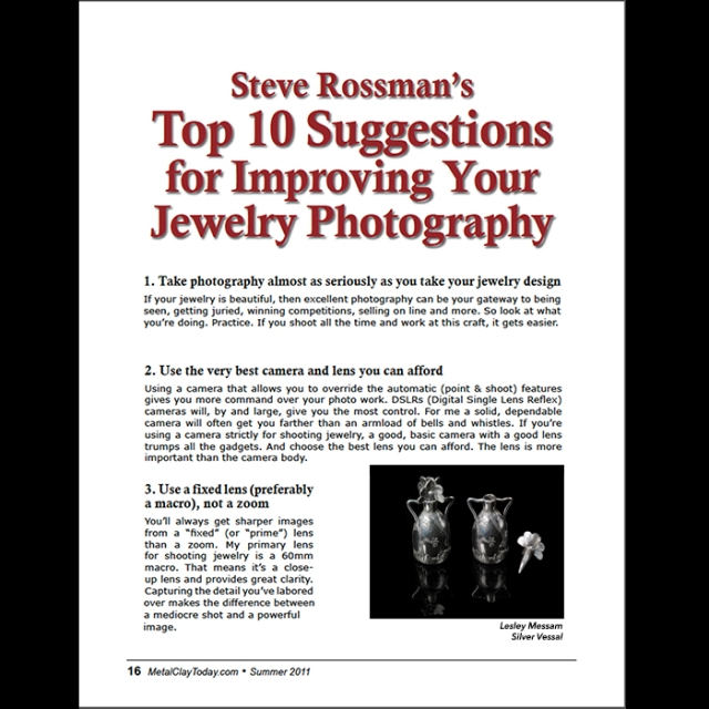 Steve Rossman's top 10 suggestions for jewelry photography