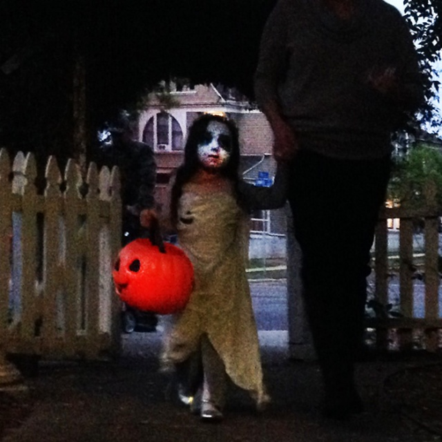 Halloween witch and dad.  Scary iPhone photography by Steve Rossman