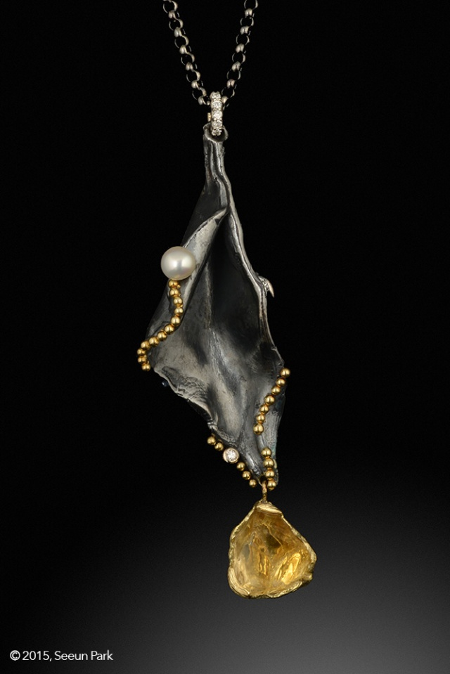 Seeun Park-Diamond, silver, Gold & Pearl Pendant. Jewelry photography by Steve Rossman